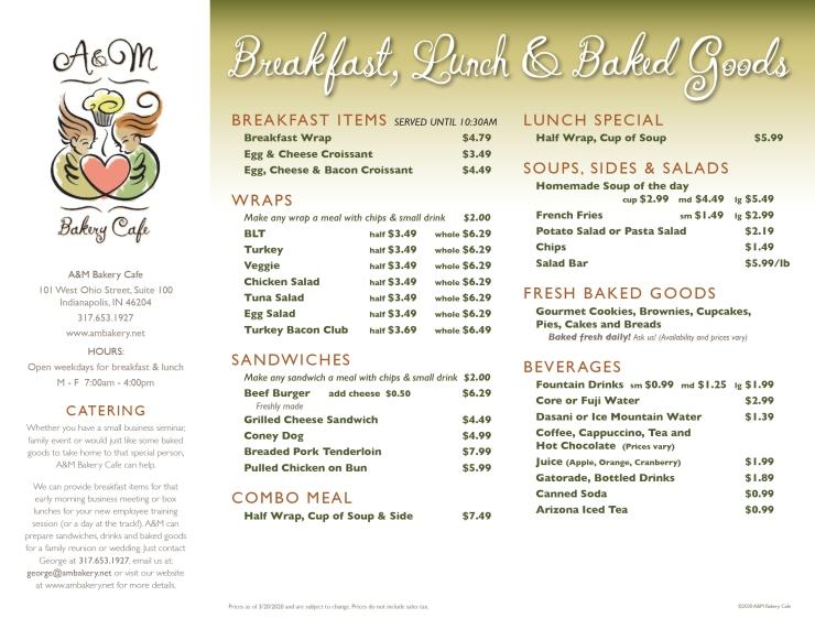 A&M Bakery Cafe menu 1.0-1